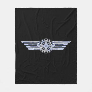 一般的な私用空気パイロットのクロムは翼の黒を好みます フリースブランケット