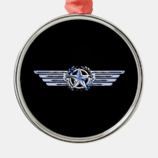一般的な空気パイロットのクロムは星の翼の黒を好みます メタルオーナメント
