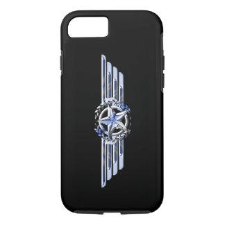 一般的な空気パイロットのクロムは星の翼の黒を好みます iPhone 8/7ケース