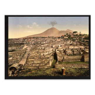 一般的な見解およびVesuvius、ポンペイ、イタリアのヴィンテージ ポストカード