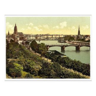 一般的な見解、川および倉庫、フランクフォート ポストカード