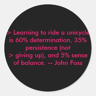 > 一輪車に乗る学ぶことは60%のdeterminat…です ラウンドシール