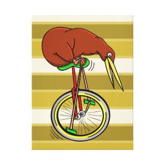 一輪車のおもしろいな漫画のキーウィの鳥 キャンバスプリント