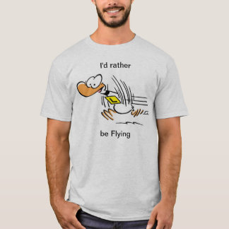 丁のアヒルのおもしろいで飛んでいるなワイシャツ Tシャツ