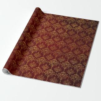 丁重な王室のでシックな金赤いビロードのダマスク織 ラッピングペーパー