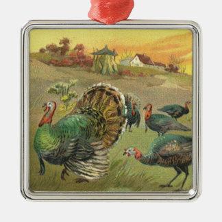 七面鳥および巡礼者とのヴィンテージの感謝祭 メタルオーナメント