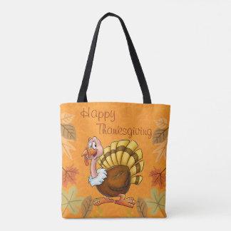 七面鳥が付いているかわいい感謝祭の戦闘状況表示板の漫画のバッグ トートバッグ