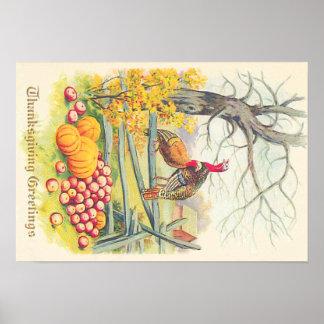 七面鳥の農場のカボチャりんごの木の紅葉 ポスター