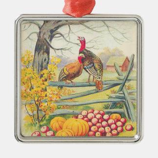 七面鳥の農場のカボチャりんごの木の紅葉 メタルオーナメント