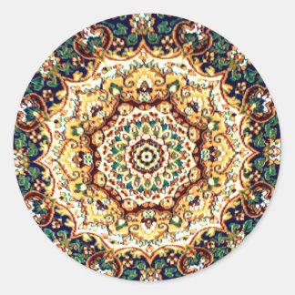 万華鏡のように千変万化するパターンのカーペットのステッカー ラウンドシール