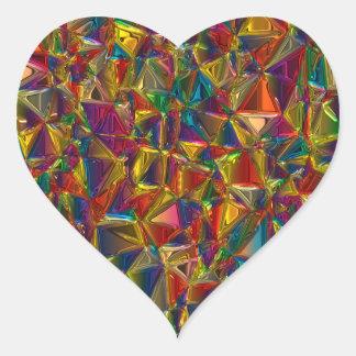 万華鏡のように千変万化するパターンのステンドグラスのハートの形のステッカー ハートシール