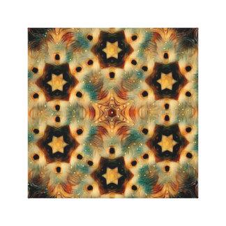 万華鏡のように千変万化するパターンのハリネズミ、ブラウンおよび青 キャンバスプリント