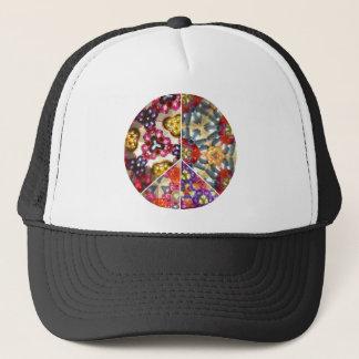 万華鏡のように千変万化するパターンのピースサインの帽子 キャップ