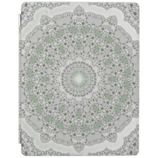 万華鏡のように千変万化するパターンのフラクタルの曼荼羅-灰色の緑 iPadスマートカバー