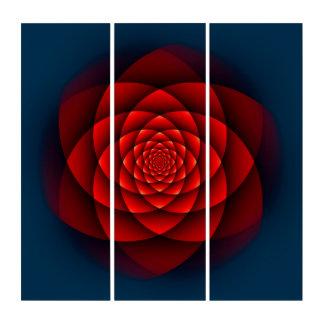 万華鏡のように千変万化するパターンのフラクタル-赤いバラ + あなたのアイディア トリプティカ