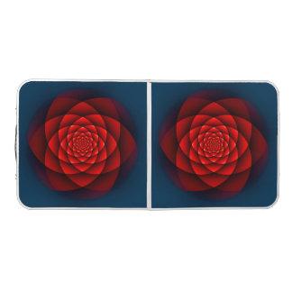 万華鏡のように千変万化するパターンのフラクタル-赤いバラ + あなたのアイディア ビアポンテーブル