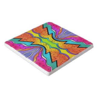 万華鏡のように千変万化するパターンの水彩画 トリベット