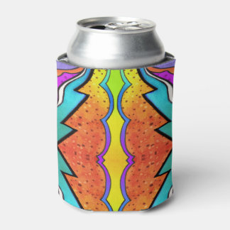 万華鏡のように千変万化するパターンの水彩画 缶クーラー