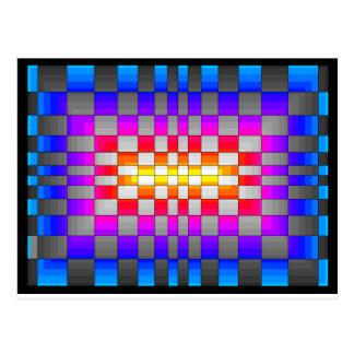 万華鏡のように千変万化するパターンの虹スペクトルはチェス盤を着色します ポストカード