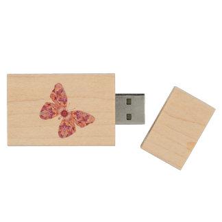 万華鏡のように千変万化するパターンの蝶フラッシュドライブ ウッドUSBフラッシュドライブ
