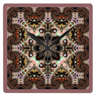 万華鏡のように千変万化するパターンのKreationsのフラクタルの絹の時計 スクエア壁時計