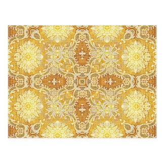 万華鏡のように千変万化するパターンのKreationsレモンタペストリー1 ポストカード