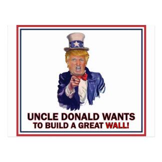 万里の長城を造るドナルドWants叔父さん ポストカード