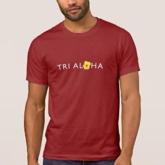 三アロハ人の丸首のTシャツ-暗闇 Tシャツ