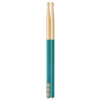 三スカルの青緑のドラムスティック ドラムスティック