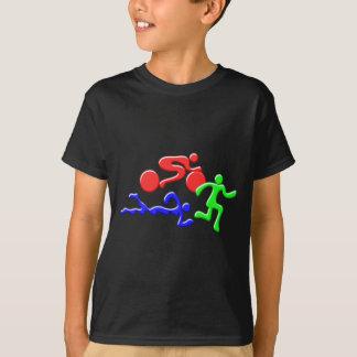 三トライアスロンの水泳のバイクの操業色の姿のデザイン Tシャツ
