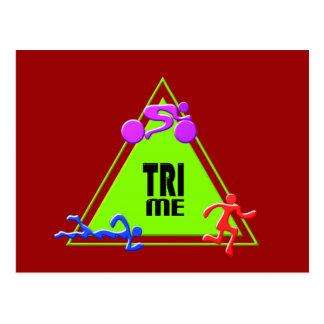 三三トライアスロンの水泳のバイクの操業三角形私デザイン ポストカード