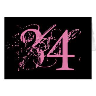 三十四は大事、黒の大きいピンクの文字です カード