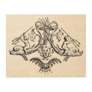 三叉の矛を持つイルカに乗っている天使 ウッドウォールアート