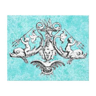 三叉の矛を持つイルカに乗っている天使 キャンバスプリント