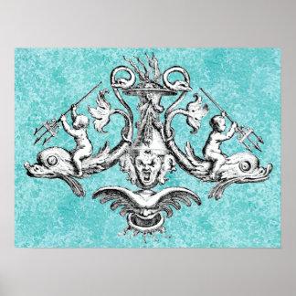三叉の矛を持つイルカに乗っている天使 ポスター