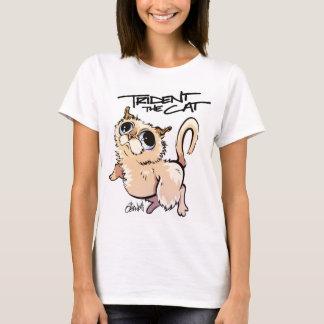 三叉の矛猫のキャラクターのティー01 Tシャツ