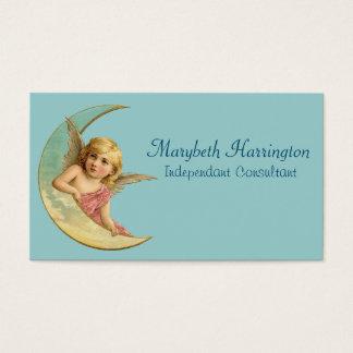 三日月の月のヴィンテージのイメージの天使 名刺