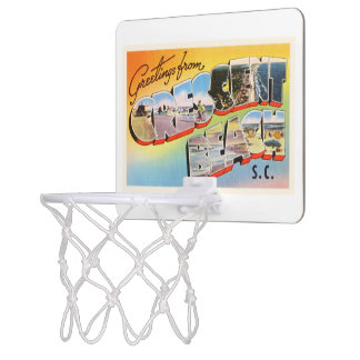 三日月形のビーチのサウスカロライナSCのヴィンテージの郵便はがき ミニバスケットボールゴール