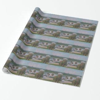 三日月形のビーチの魚のキャンプの包装紙 包み紙