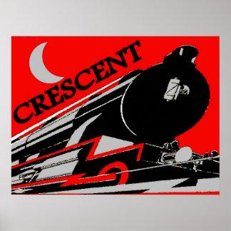 三日月形の列車の乗車 ポスター