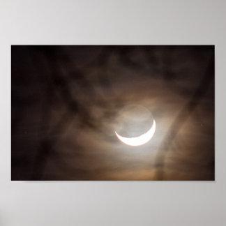 三日月形の月およびツリーブランチ ポスター
