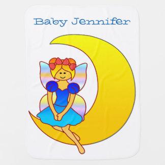 三日月形の月に坐っている妖精 ベビー ブランケット