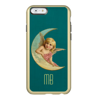 三日月形の月に坐るモノグラムのヴィンテージの天使 INCIPIO FEATHER SHINE iPhone 6ケース