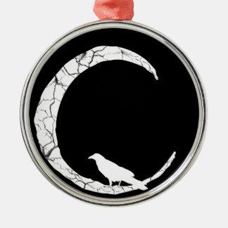 三日月形の月のオーナメントのハロウィンのワタリガラス メタルオーナメント