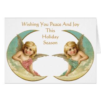 三日月形の月の平和および喜びのヴィンテージの天使 カード