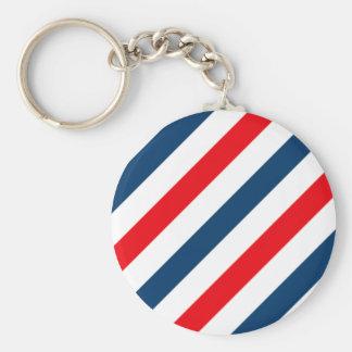 三色の対角線は縞で飾ります(青、白い、および赤) キーホルダー