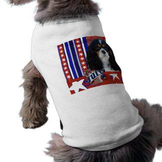 三色7月4日の爆竹-騎士- 犬用袖なしタンクトップ