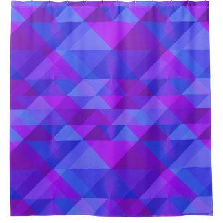三角の幾何学的設計の紫色の青 シャワーカーテン