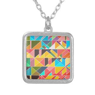 三角の抽象デザイン シルバープレートネックレス