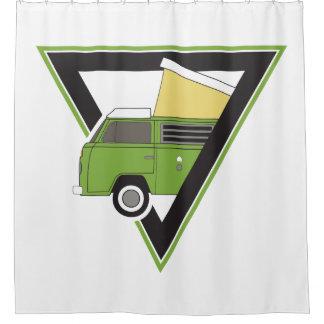 三角形のクラシックな緑のキャンピングカーバン シャワーカーテン